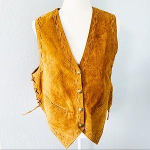 Vintage Brown Leather Snap Front Vest Bechamel SzL